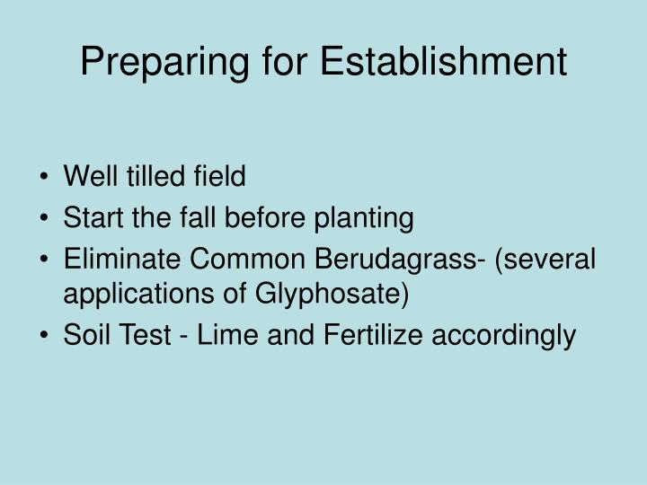 Preparing for establishment