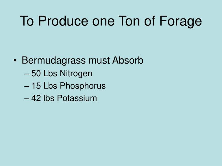 To Produce one Ton of Forage