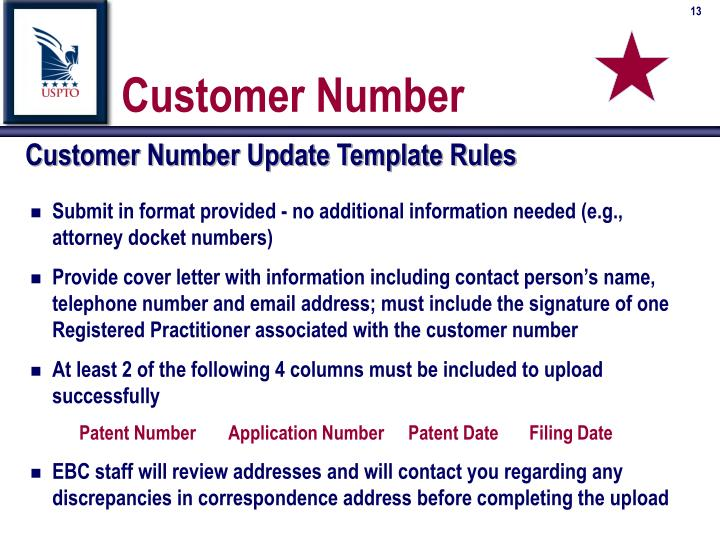 Customer Number Update Template Rules