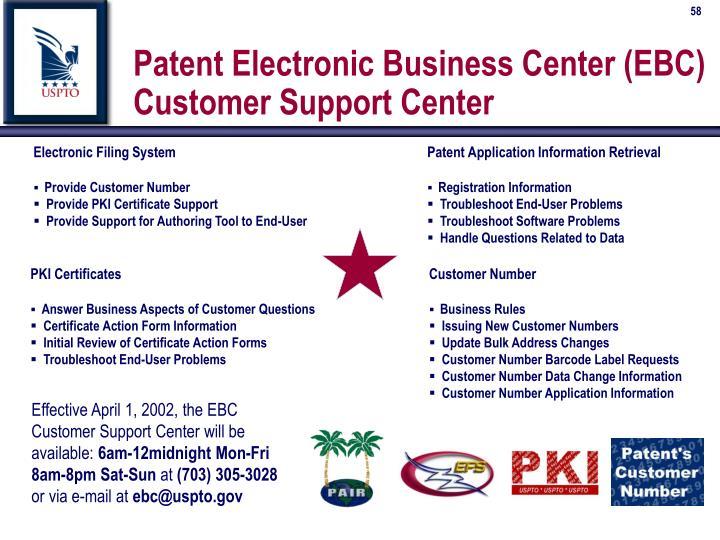 Patent Electronic Business Center (EBC)