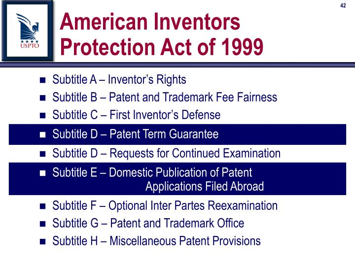 American Inventors Protection Act of 1999