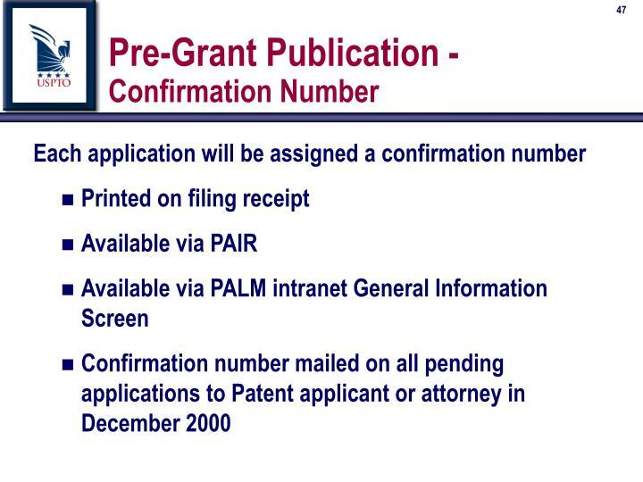 Pre-Grant Publication -