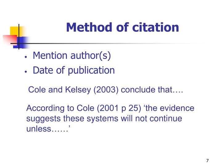 Method of citation