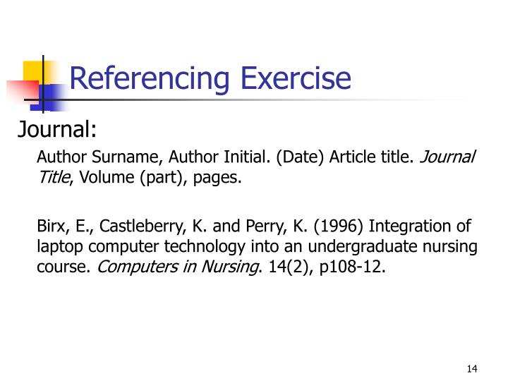Referencing Exercise