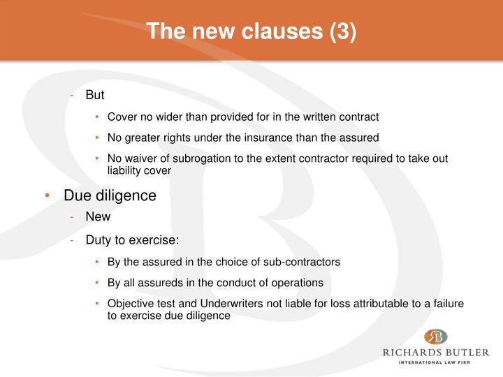 The new clauses (3)