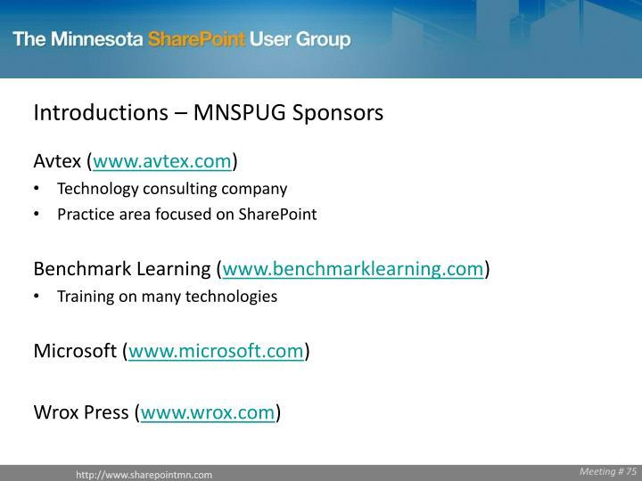 Introductions – MNSPUG Sponsors