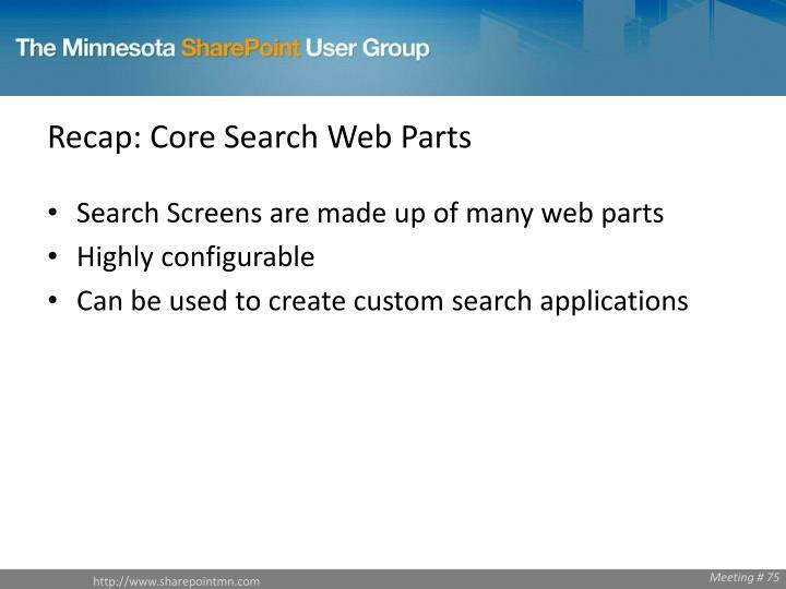 Recap: Core Search