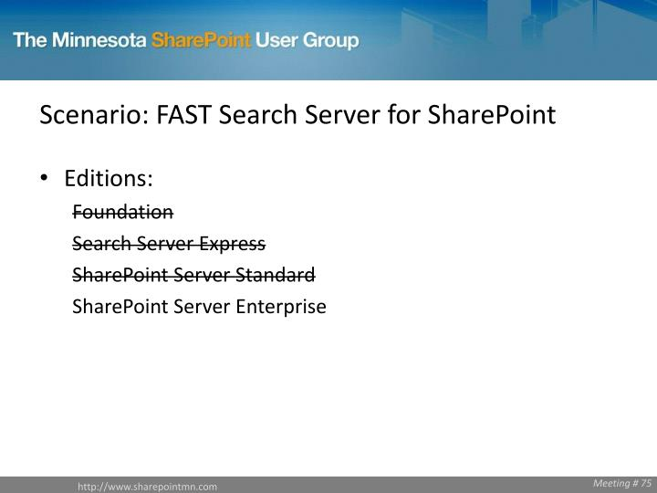 Scenario: FAST Search Server for SharePoint
