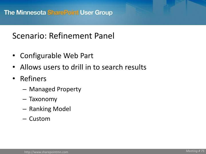 Scenario: Refinement Panel