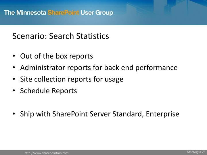 Scenario: Search Statistics