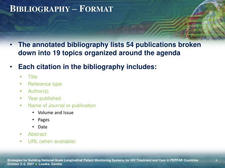 Bibliography – Format