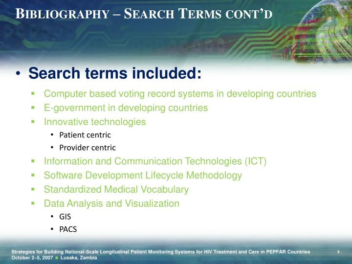Bibliography – Search Terms cont'd