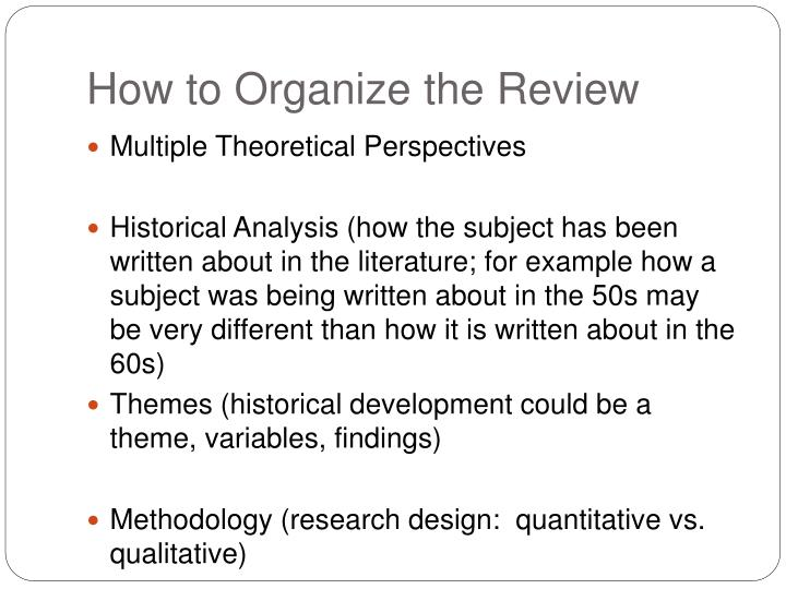 How to Organize the Review