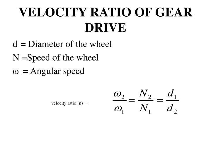 VELOCITY RATIO OF GEAR DRIVE