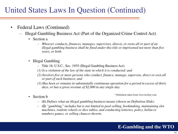United States Laws In Question (Continued)