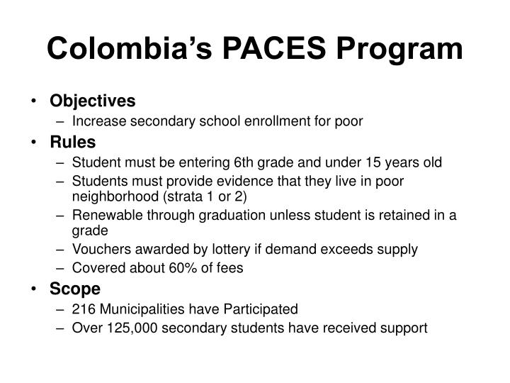 Colombia's PACES Program