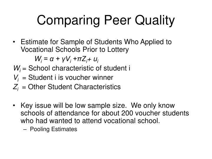Comparing Peer Quality
