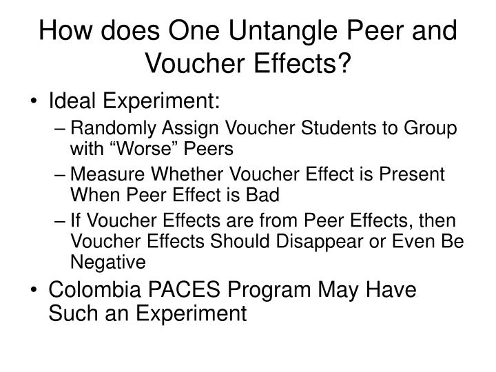 How does One Untangle Peer and Voucher Effects?
