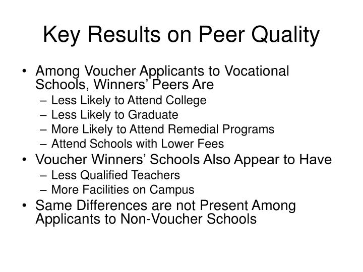 Key Results on Peer Quality