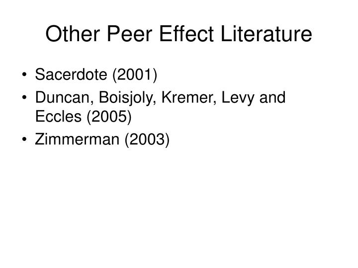Other Peer Effect Literature