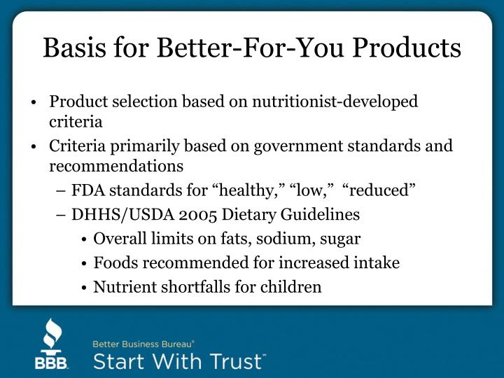 Basis for Better-For-You Products