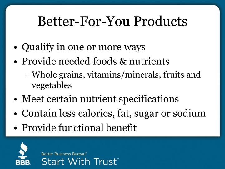 Better-For-You Products