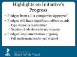highlights on initiative s progress