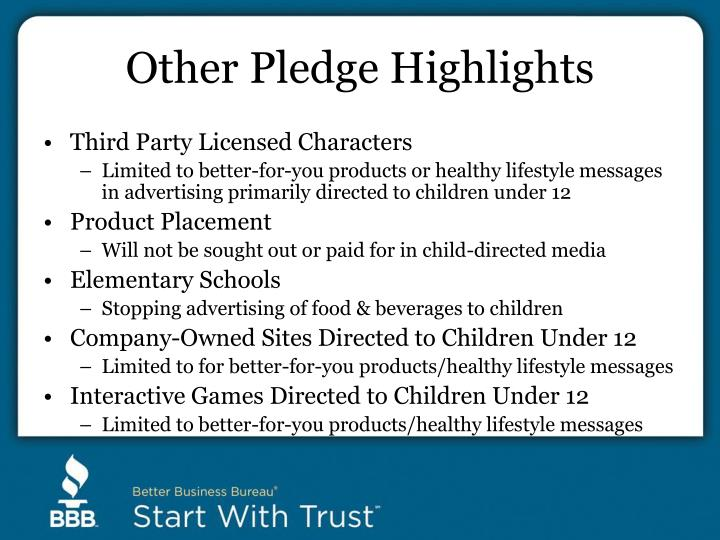 Other Pledge Highlights