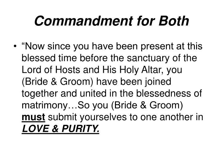 Commandment for Both