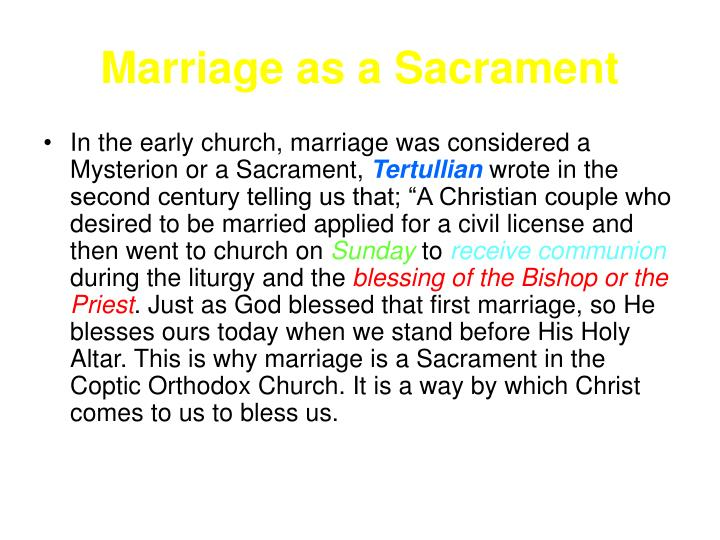 Marriage as a Sacrament