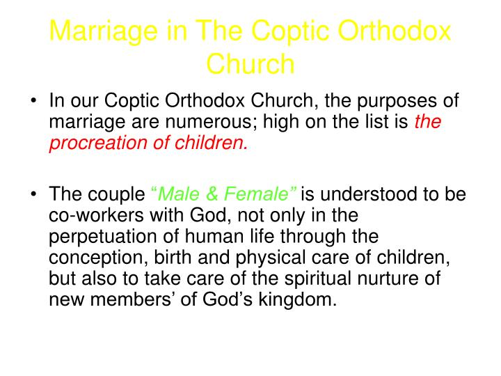 Marriage in The Coptic Orthodox Church