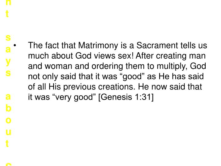 What the Sacrament says about Sex?