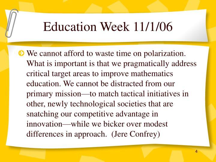 Education Week 11/1/06