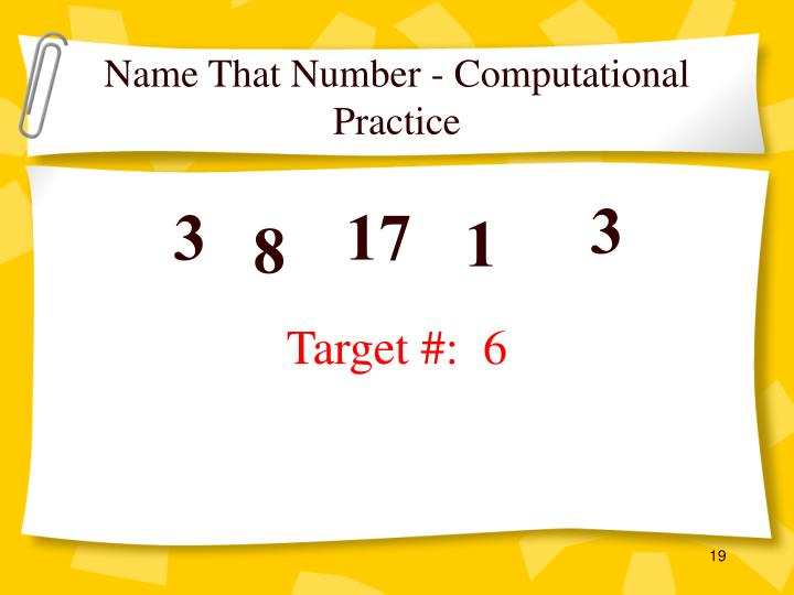 Name That Number - Computational Practice