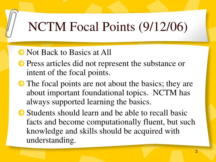 NCTM Focal Points (9/12/06)