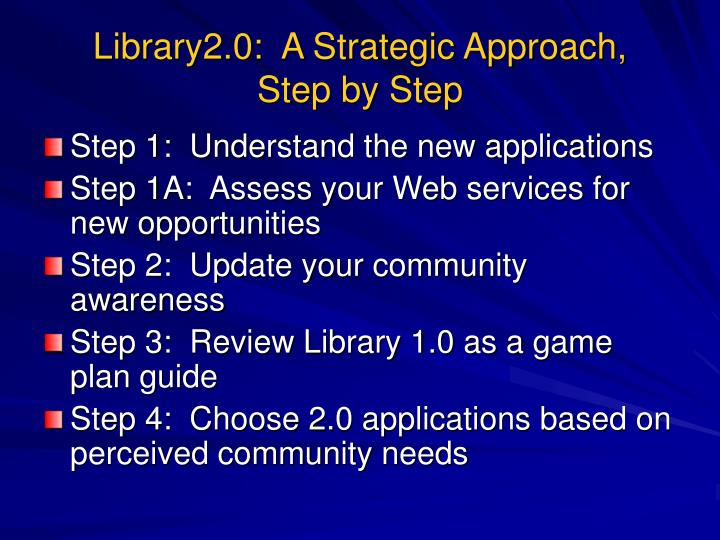 Library2.0:  A Strategic Approach,