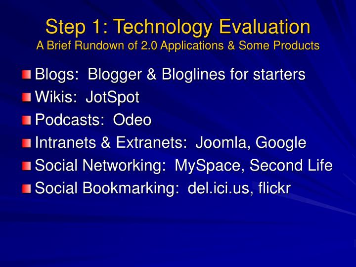 Step 1: Technology Evaluation