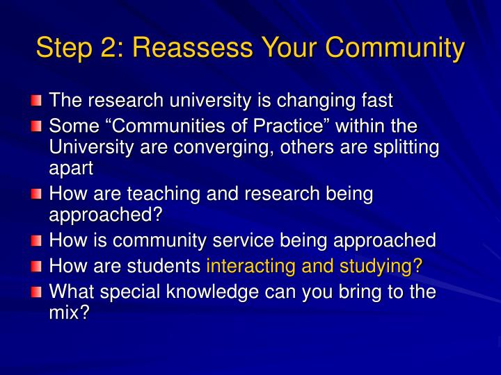 Step 2: Reassess Your Community