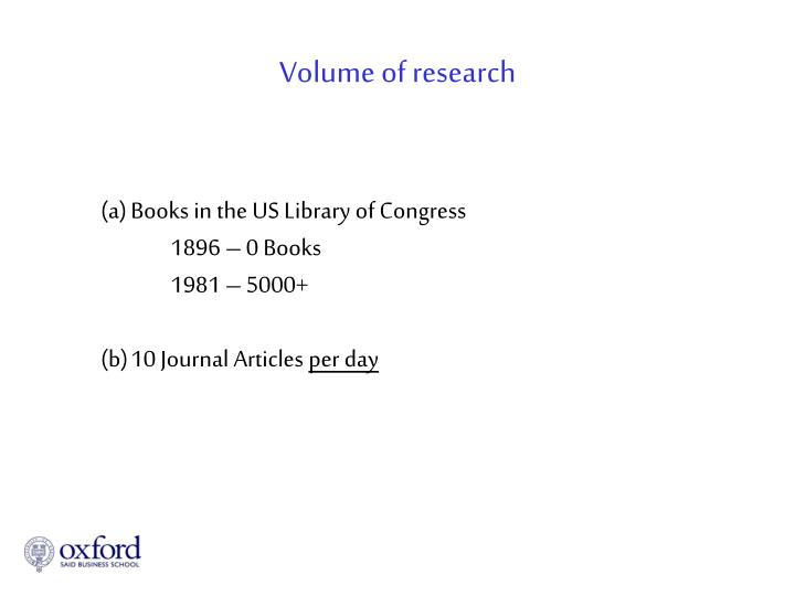 Volume of research