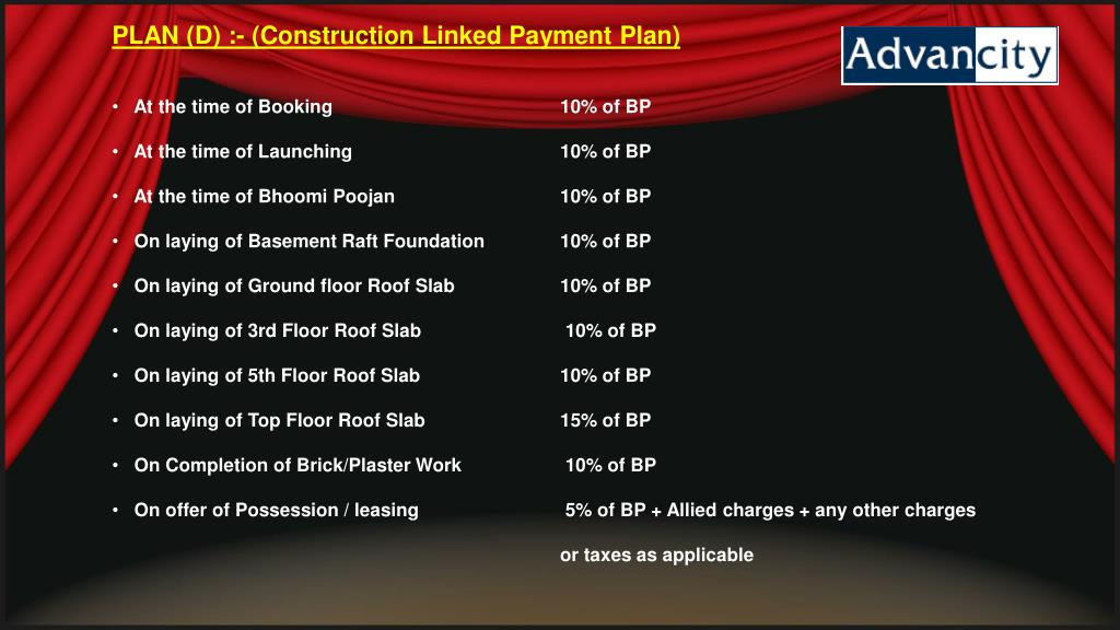 PLAN (D) :- (Construction Linked Payment Plan)