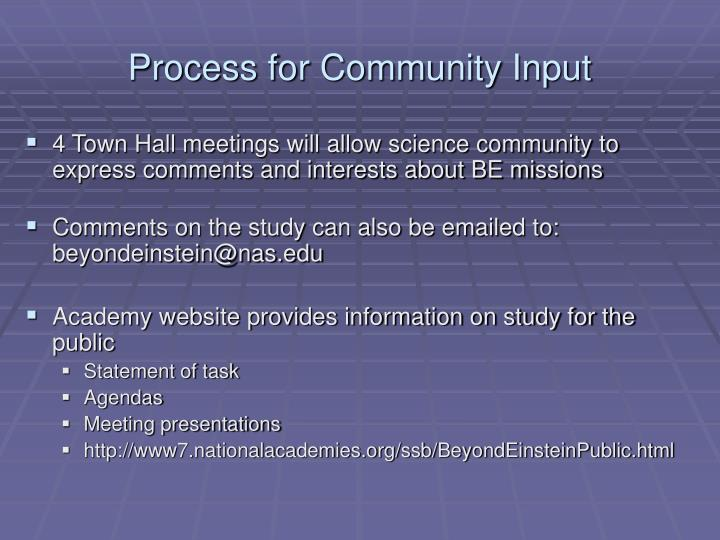 Process for Community Input