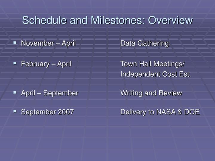Schedule and Milestones: Overview