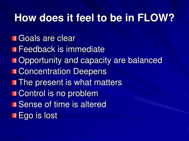 How does it feel to be in FLOW?