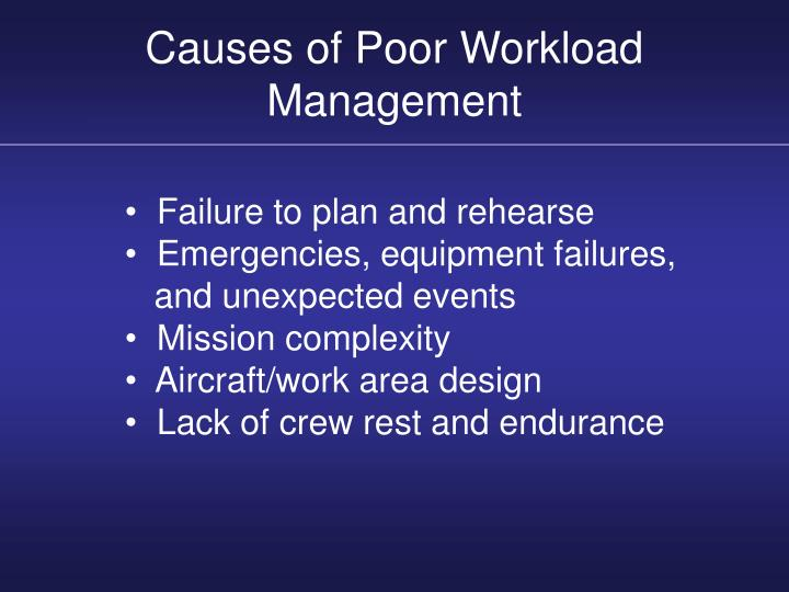 Causes of Poor Workload Management