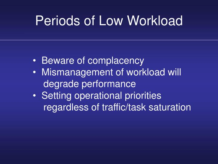 Periods of Low Workload