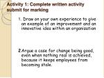 activity 1 complete written activity submit for marking