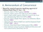 8 memorandum of concurrence