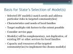 basis for state s selection of model s