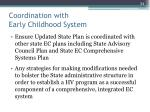 coordination with early childhood system