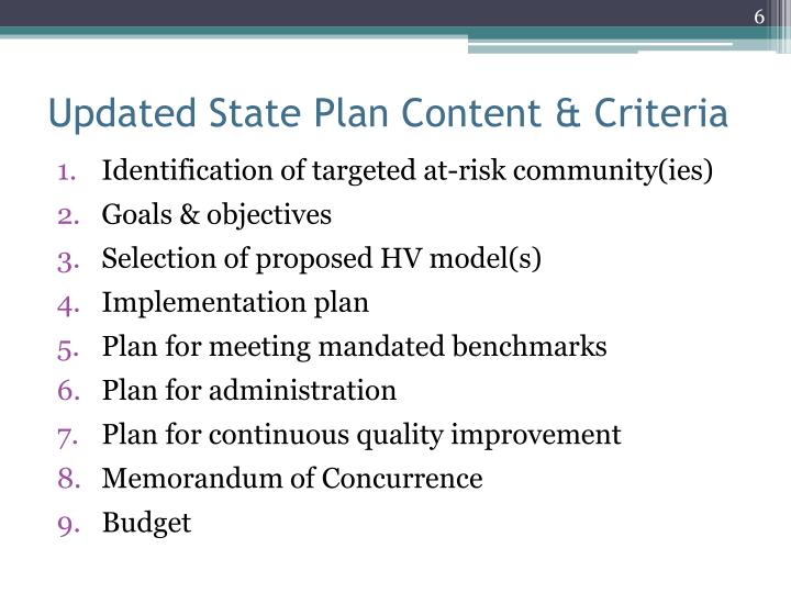 Updated State Plan Content & Criteria